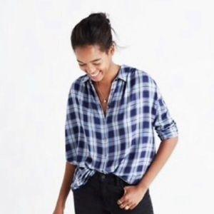 Blue Plaid Madewell Long-sleeved Flannel